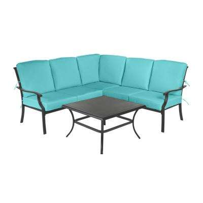 Redwood Valley Black 4-Piece Steel Outdoor Patio Sectional Sofa Set with CushionGuard Seaglass Turquoise Cushions
