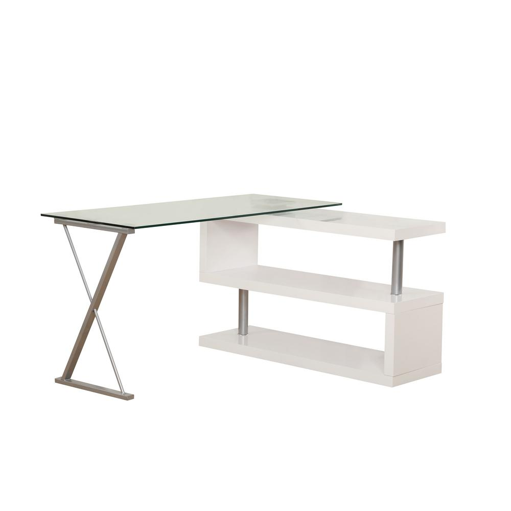Acme Furniture Buck 2 Piece Clear Glass And White Office Suite Writing Desk