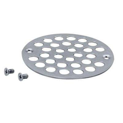 4 in. Brass Shower Strainer Grid with Screws in Polished Chrome