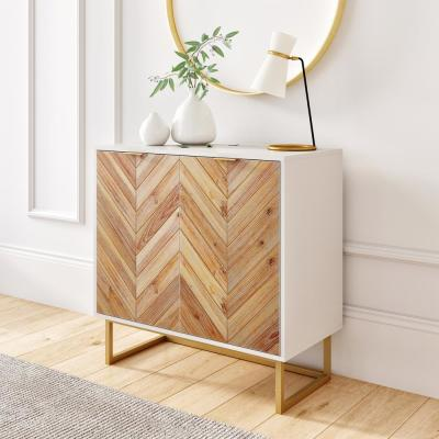 Enloe White Frame with Brown Rustic Doors and Gold Base Free Standing Modern Storage Cabinet for Entryway or Living Room