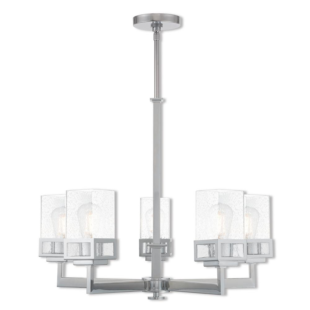 Harding 5-Light Polished Chrome Chandelier with Hand Blown Clear Seeded Glass