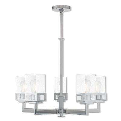 Harding 5-Light Polished Chrome Chandelier with Hand Blown Clear Seeded Glass Shades