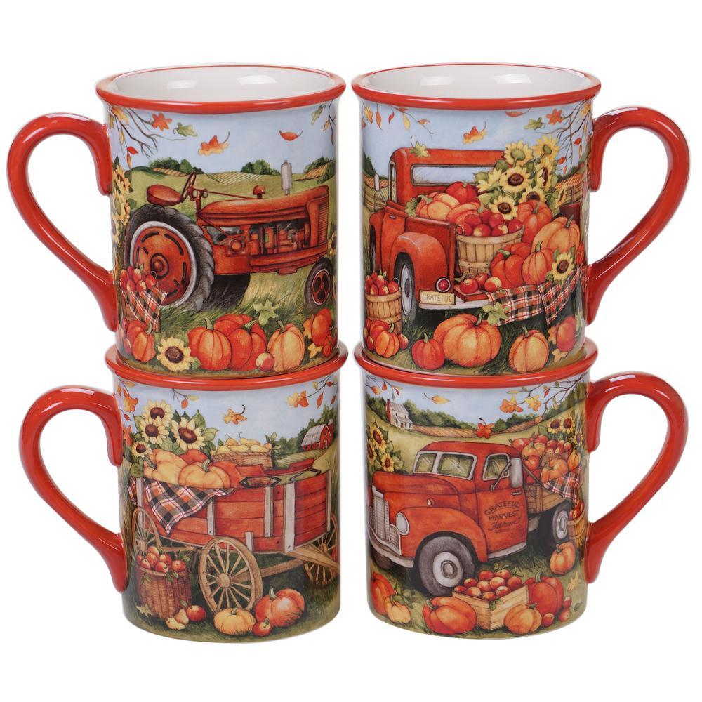 Harvest Bounty 4-Piece Multi-Colored 18 oz. Mug Set