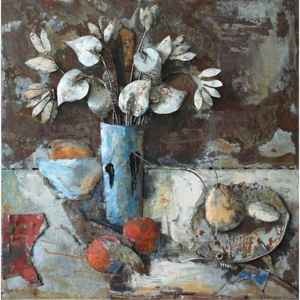 """Yosemite Home Decor 32 in. x 32 in. """"Fruitful Beginnings II"""" Hand Painted Contemporary Artwork"""