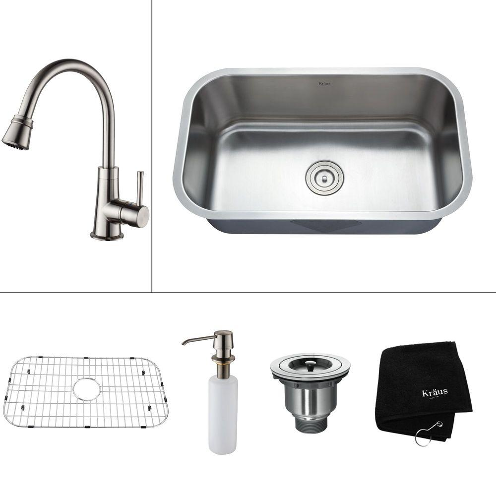 KRAUS All-in-One Undermount Stainless Steel 31.50x18.38x14.9 in. 0-Hole Single Bowl Kitchen Sink with Satin Nickel Accessories