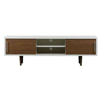 Gemini Walnut And White Storage Entertainment Center