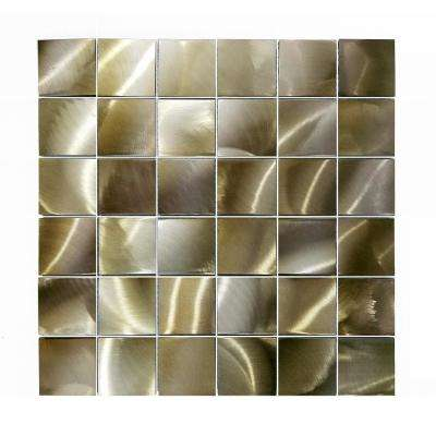 Luminescent Gold 12 in. x 12 in. Brushed Aluminum Decorative Mosaic Wall Tile (9 sq. ft./Case)