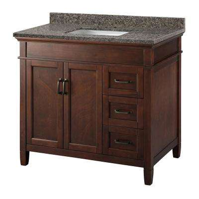 Ashburn 37 in x 22 in Vanity in Mahogany with Granite Vanity Top in Sircolo  with White Sink