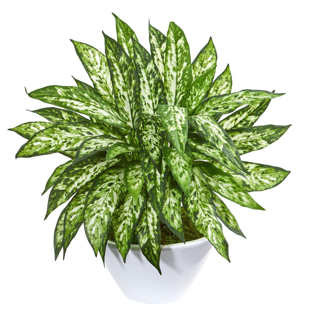 21 in. Indoor Aglaonema Artificial Plant in White Vase