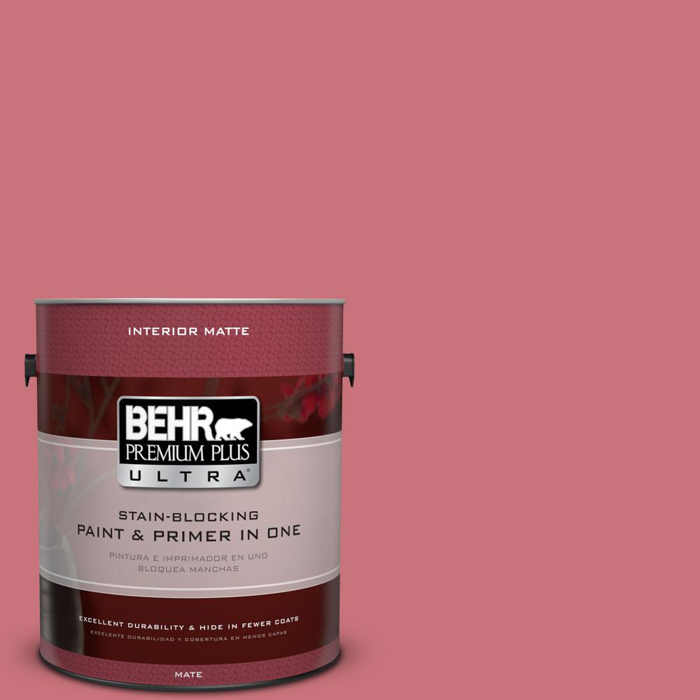 BEHR Premium Plus Ultra 1 gal. #140D-5 Rose Chintz Flat/Matte Interior Paint