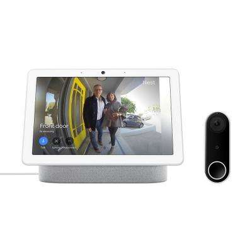 Nest Hello Video Doorbell and Nest Hub Max Chalk