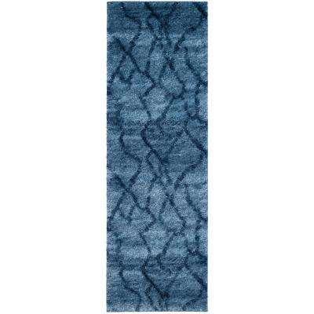 Retro Blue/Dark Blue 2 ft. x 7 ft. Runner Rug