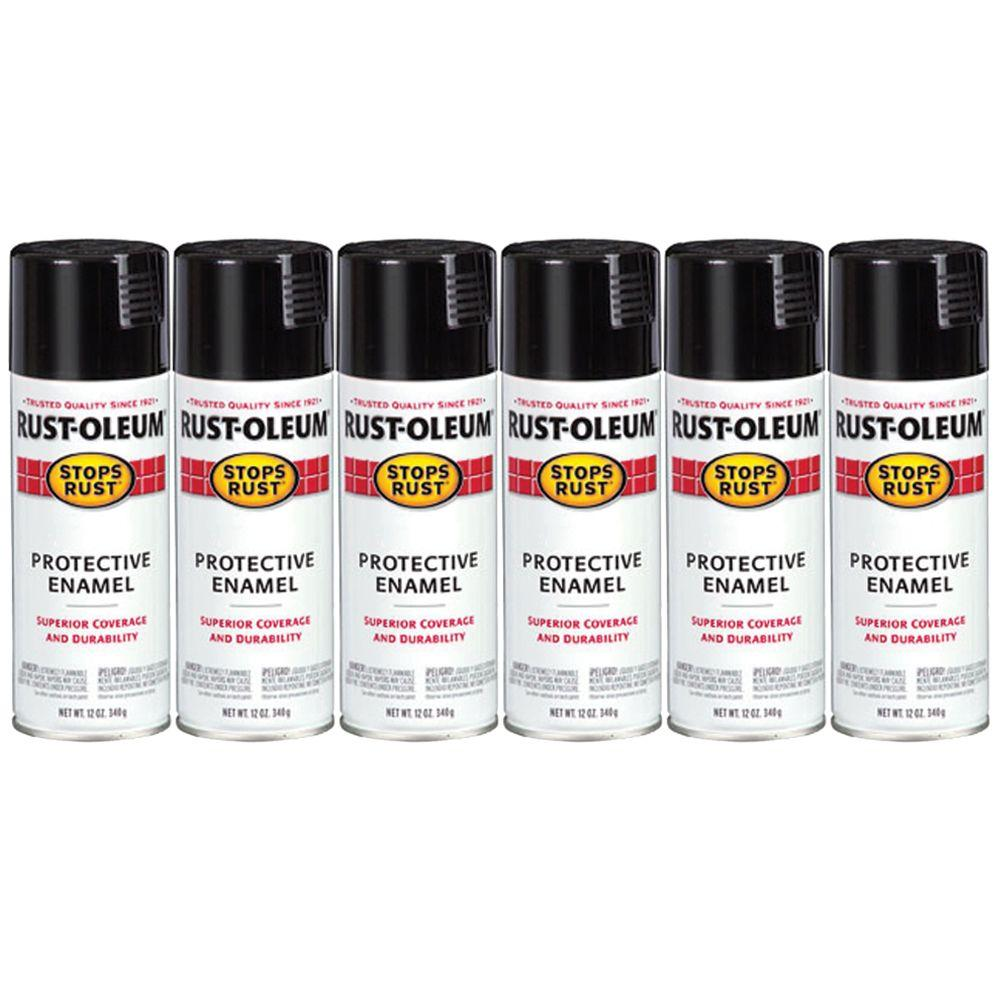 Rust-Oleum 12 oz. Stops Rust Satin Black Spray (6-Pack)-DISCONTINUED