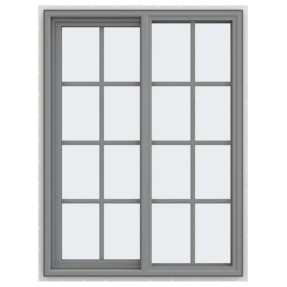 JELD-WEN 35.5 in. x 47.5 in. V-4500 Series Left-Hand Sliding Vinyl Window with Grids - Gray