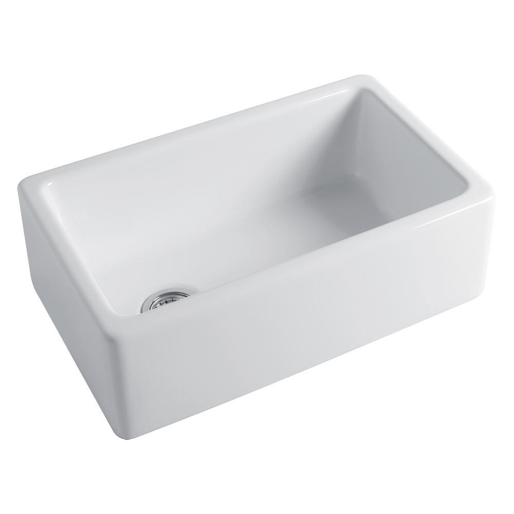Porter Farmhouse/Apron-Front Fireclay 30 in. Single Bowl Kitchen Sink in White