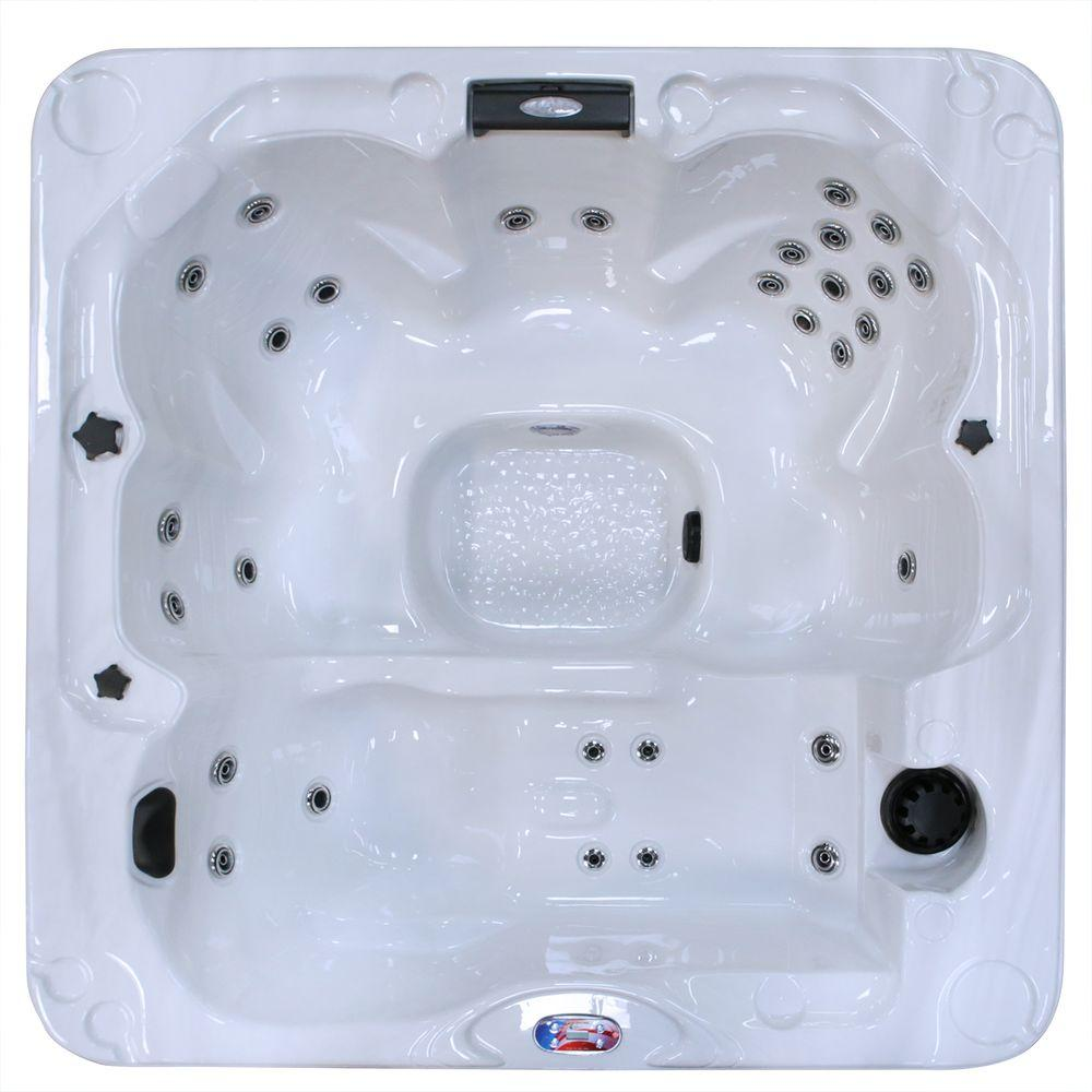 6-Person 30-Jet Lounger Sterling Silver Spa Hot Tub with Backlit LED
