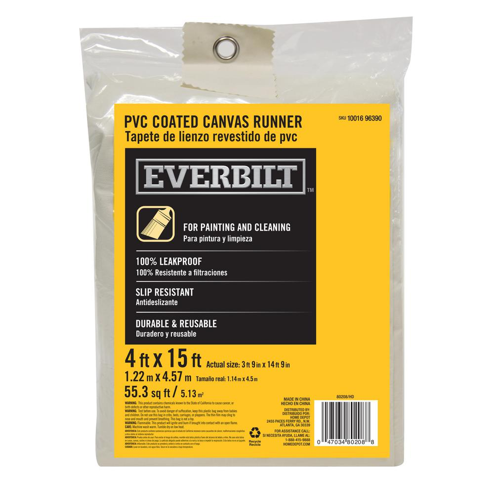 Everbilt 4 Ft X 15 Ft Heavyweight Coated Drop Cloth 80208 The