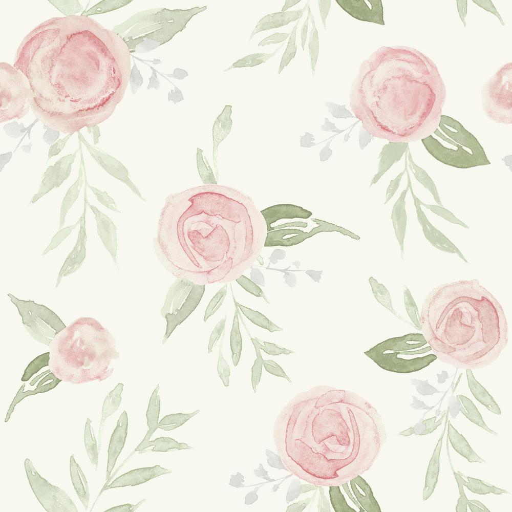 Watercolor Roses Coral Paper Peelable Roll (Covers 34 sq. ft.)