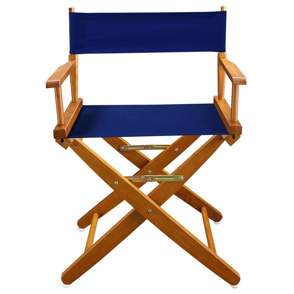 Awesome American Trails 18 In Extra Wide Mission Oak Wood Frame Royal Blue Canvas Seat Folding Directors Chair Squirreltailoven Fun Painted Chair Ideas Images Squirreltailovenorg