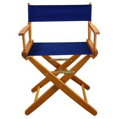 18 in. Extra-Wide Mission Oak Wood Frame/Royal Blue Canvas Seat Folding Directors Chair