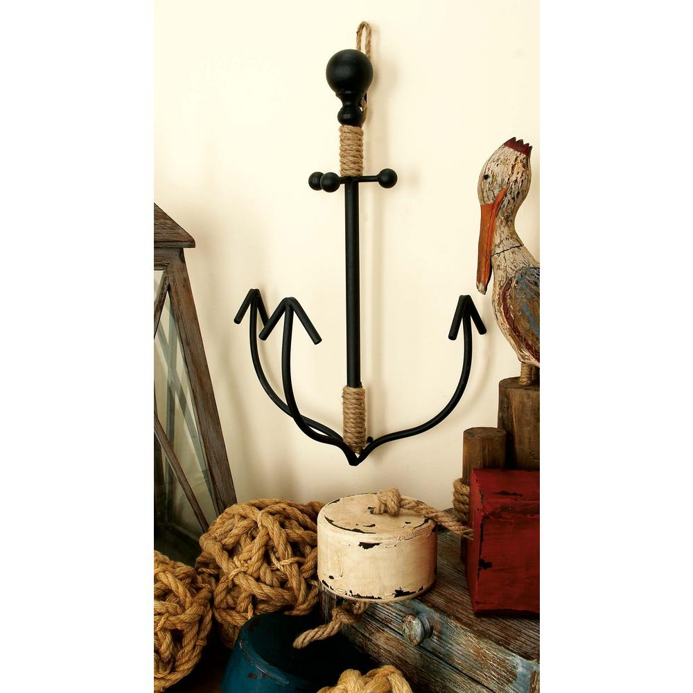 22 in. x 14 in. Nautical Iron and Hemp Rope Anchor
