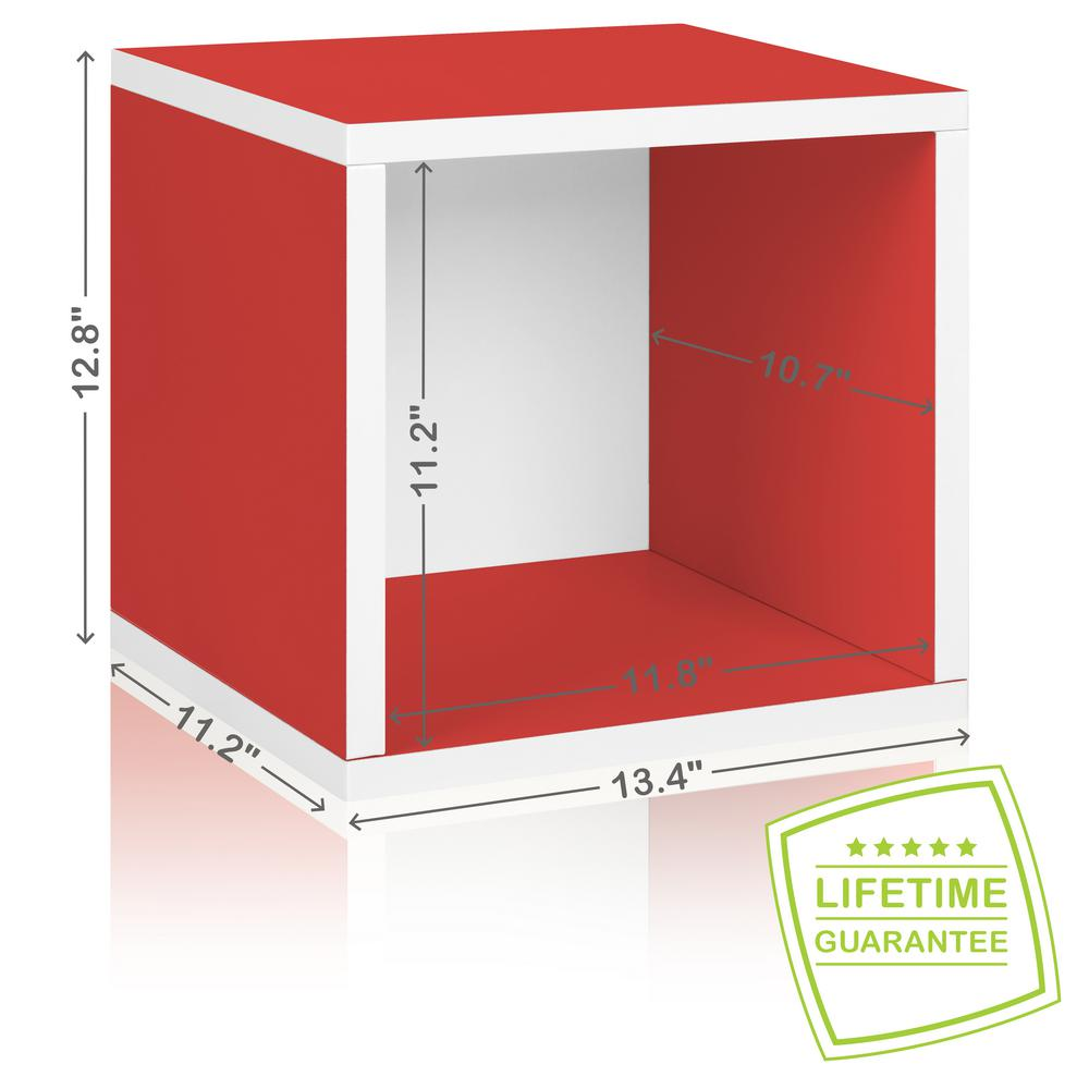 Way Basics Eco Stackable zBoard  11.2 x 13.4 x 12.8 Tool-Free Assembly Storage Cube Unit Organizer in Red