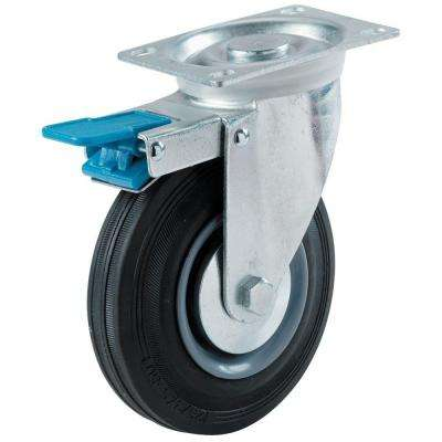 3 in. Semi-Elastic Rubber Swivel Plate Caster with 130 lb. Load Rating and Total-Lock Brake