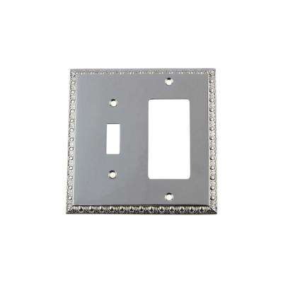 Egg and Dart Switch Plate with Toggle and Rocker in Bright Chrome