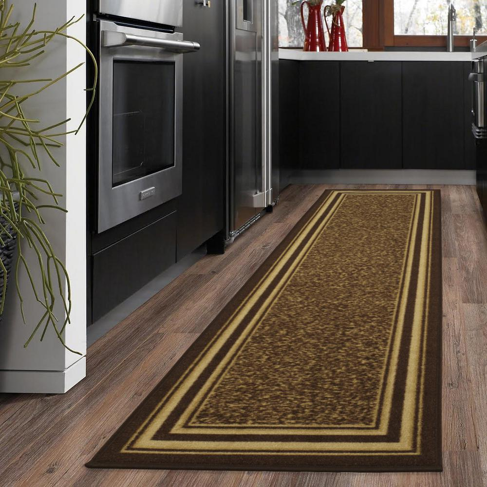 Ottohome Collection Contemporary Bordered Design Brown 2 ft. x 5 ft.