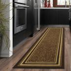 Ottohome Collection Contemporary Bordered Design Brown 2 ft. x 5 ft. Runner Rug