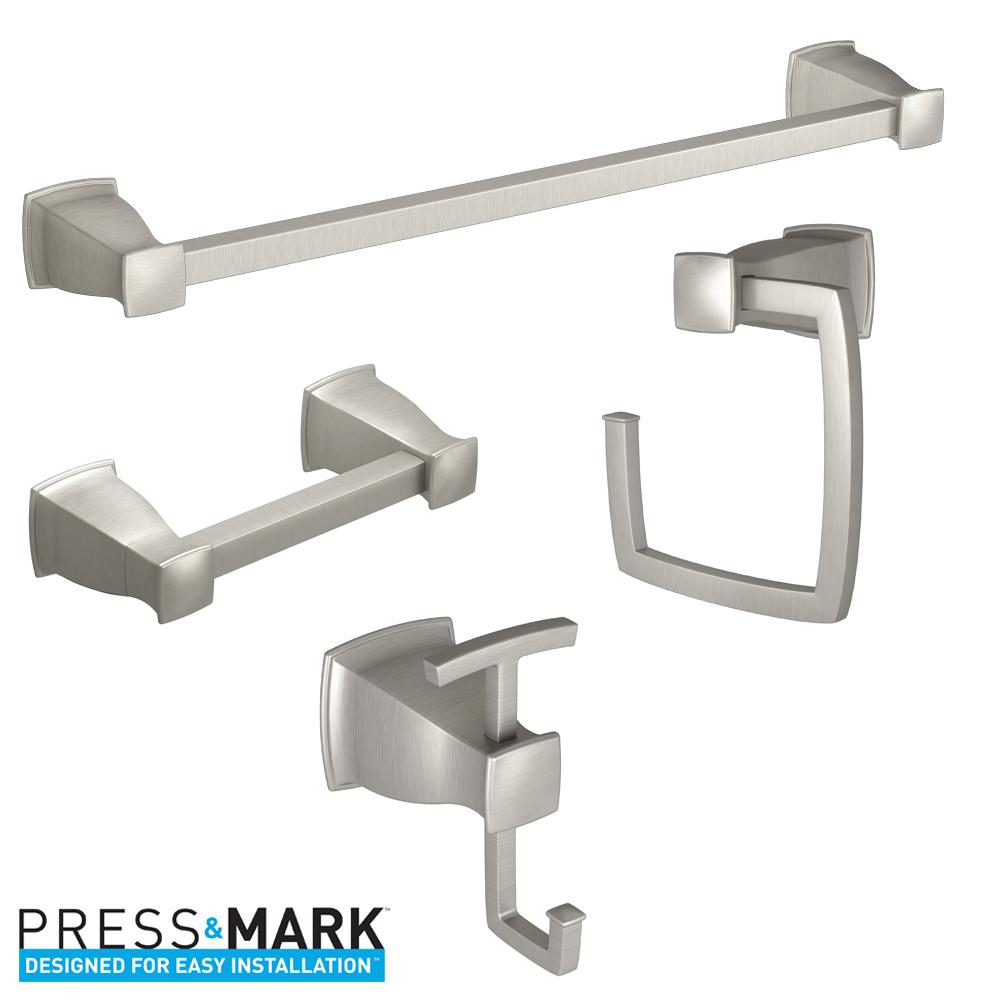 MOEN Hensley Press and Mark 4-Piece Bath Hardware Set with Towel Bar on bathroom hardware sets black, bathroom hardware product, bathroom rug and tank set, bathroom rugs and toilet tank covers, bathroom hand towel holder, bathroom toilet seat cover sets, bathroom decor sets,