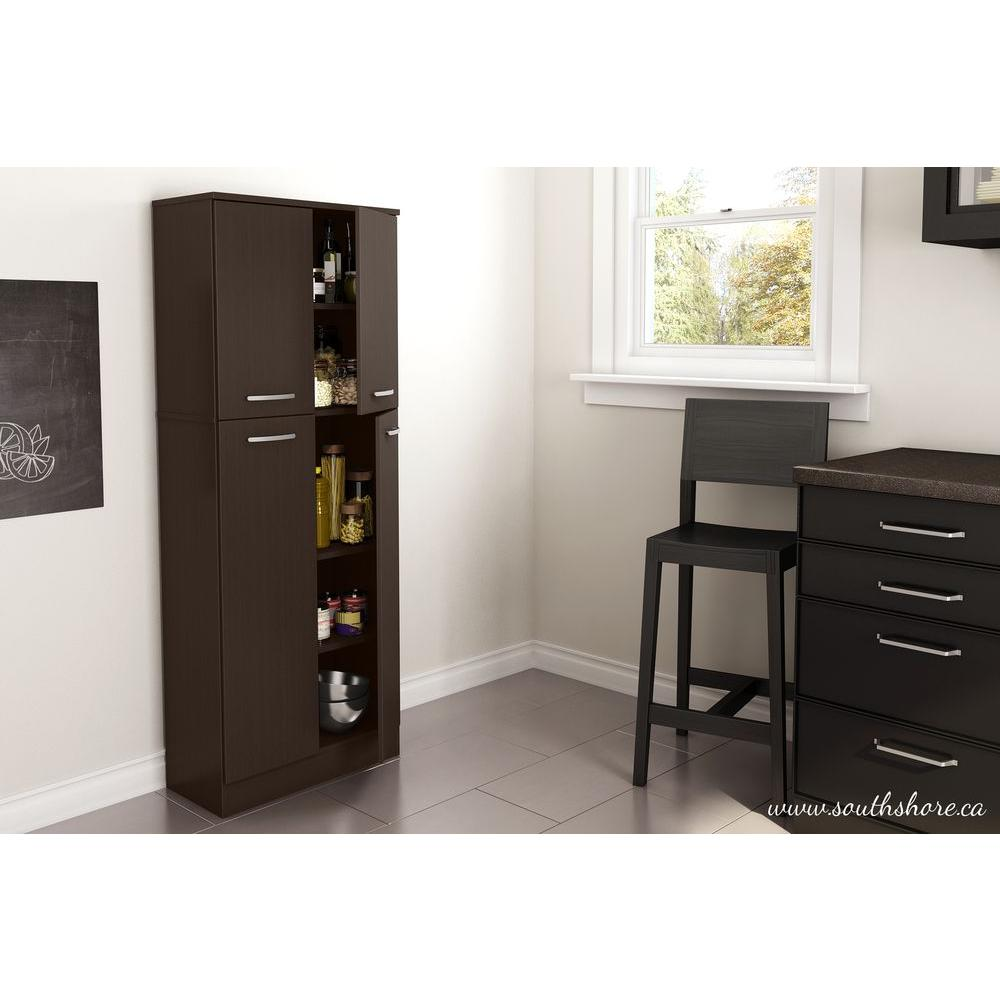 South Shore Axess 4-Door Laminated particleboard Pantry in Chocolate