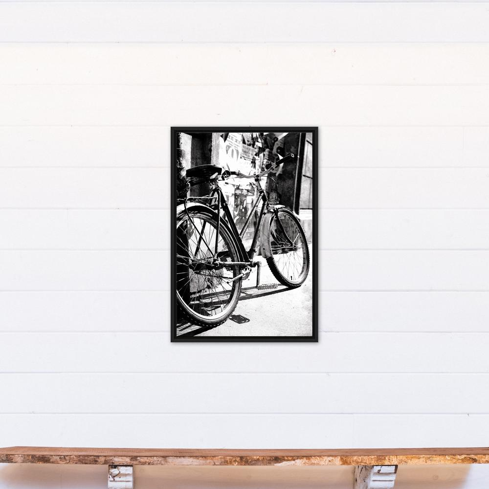 20 in. x 30 in. ''Black & White Bicycle Photograph'' Printed