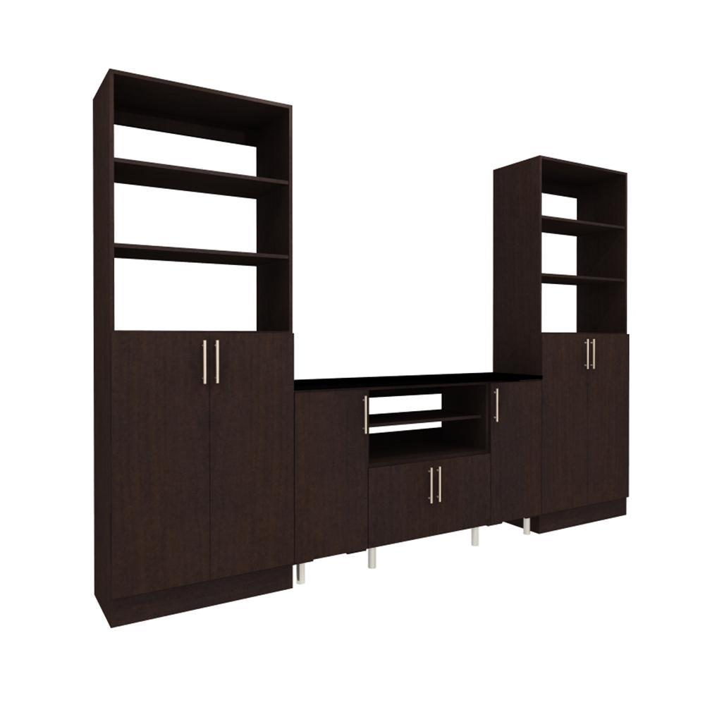 Charming Mocha Storage Entertainment Center Kit