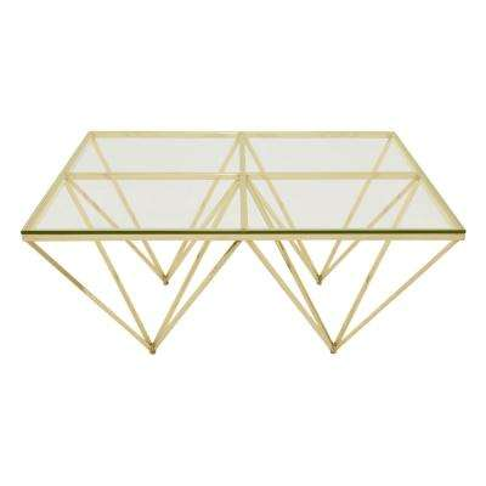 Gold Metal/Glass Coffee Table