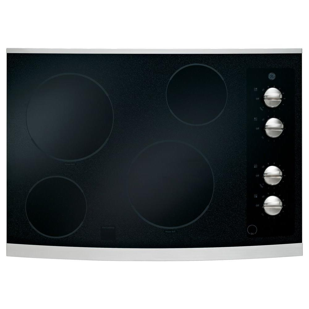 GE 30 in. Ceramic Glass Electric Cooktop in Stainless Steel with 4 Elements including PowerBoil