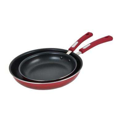 2-Piece Aluminum Fry Pan Set with Gradient Red Finish