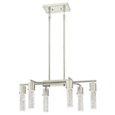 Cava 150-Watt Brushed Nickel Finish Integrated LED Chandelier with Bubble Glass Cylinders
