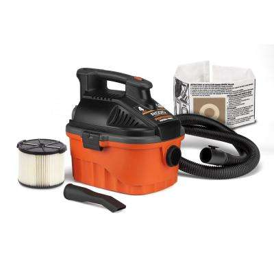4 Gal. 5.0-Peak HP Portable Wet/Dry Shop Vacuum with Filter, Dust Bag, Locking Hose and Car Nozzle