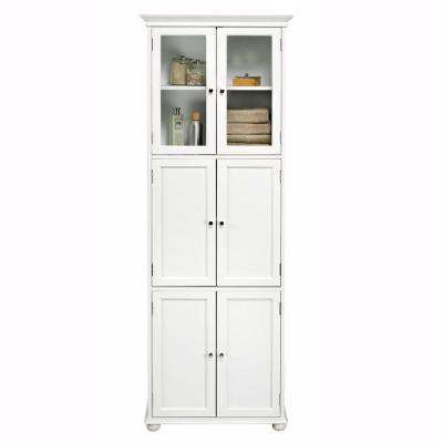 Hampton Harbor 25 in. W x 14 in. D x 72 in. H Linen Cabinet with in White