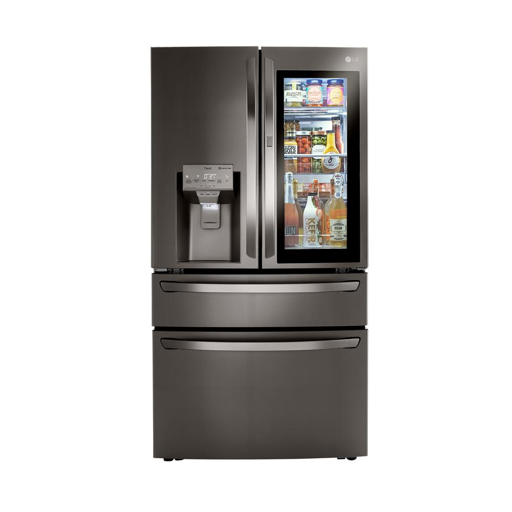LG Electronics 22.5 cu. ft. French Door Refrigerator with InstaView, Dual and Craft Ice in PrintProof Black Stainless, Counter Depth, Printproof Black was $4299.0 now $3297.6 (23.0% off)