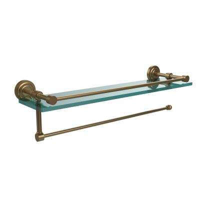 Dottingham 16 in. L  x 5 in. H  x 5 in. W Paper Towel Holder with Gallery Clear Glass Shelf in Brushed Bronze