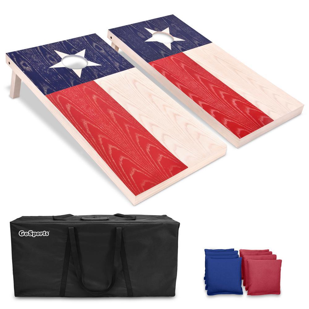 4 ft. x 2 ft. Texas Flag Regulation Size Solid Premium Wood Cornhole Set