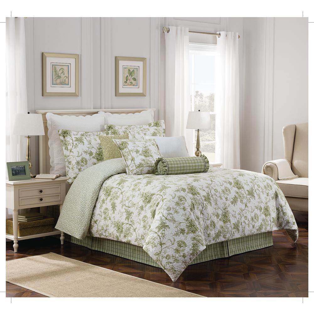 Royal heritage home williamsburg burwell 4 piece green cal king comforter set