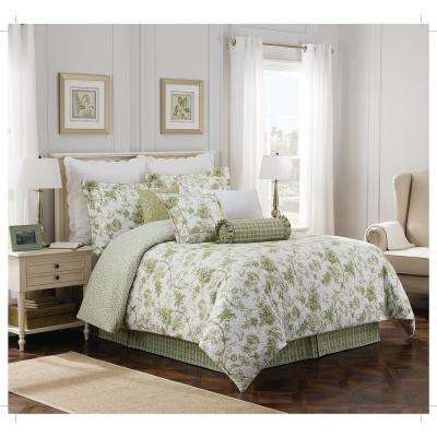 Williamsburg Burwell 4-Piece Green Cal-King Comforter Set