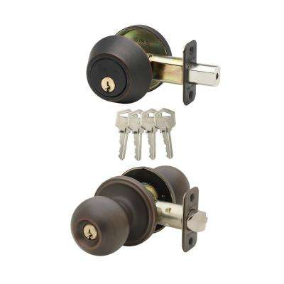 Soft Contemporary Tuscan Bronze Entry Door Knob with Deadbolt