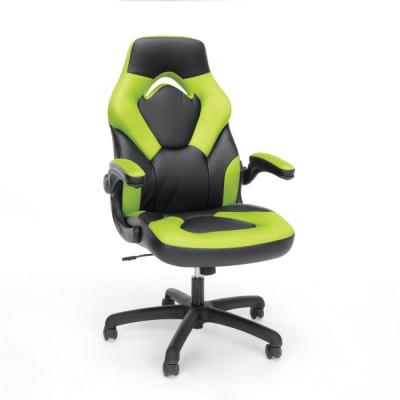 Essentials Collection Green Racing Style Bonded Leather Gaming Chair (ESS-3085-GRN)