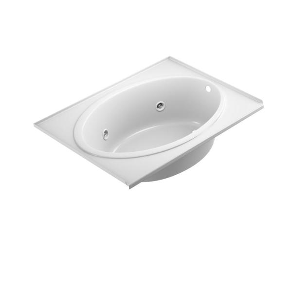 Jacuzzi Nova 60 In X 42 In Acrylic Right Hand Drain Rectangular Drop In Whirlpool Bathtub In White With Tile Flange Not6042wrl2xxw The Home Depot