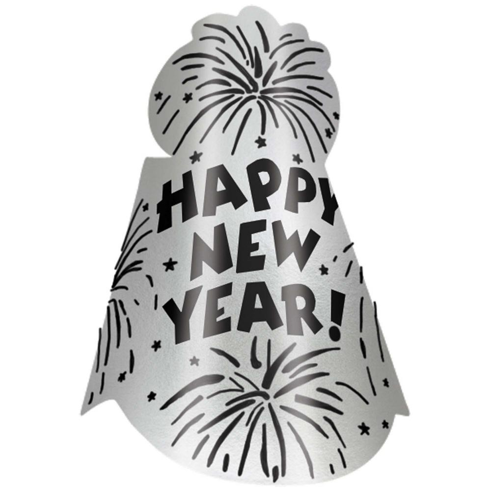 Happy New Year Silver Glitter Foil Hats x 12
