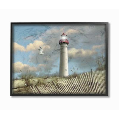 """24 in. x 30 in. """"Cape May Sand Dune Fence Lighthouse Beach Scene with Seagull"""" by Alan Giana & Company Framed Wall Art"""
